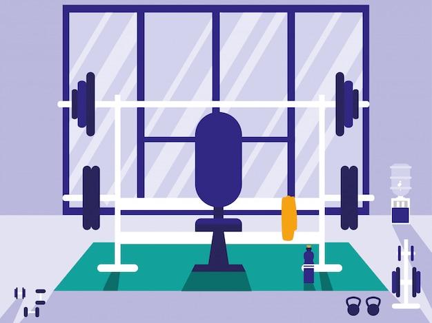 Area per sollevamento pesi in palestra sportiva