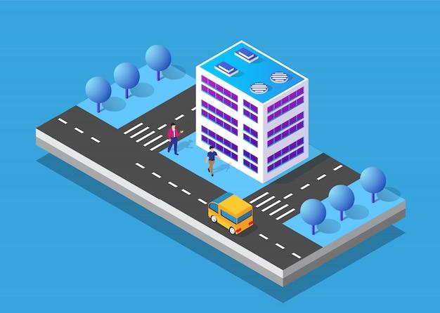 Area urbana della città icona isometrica 3d con molte case