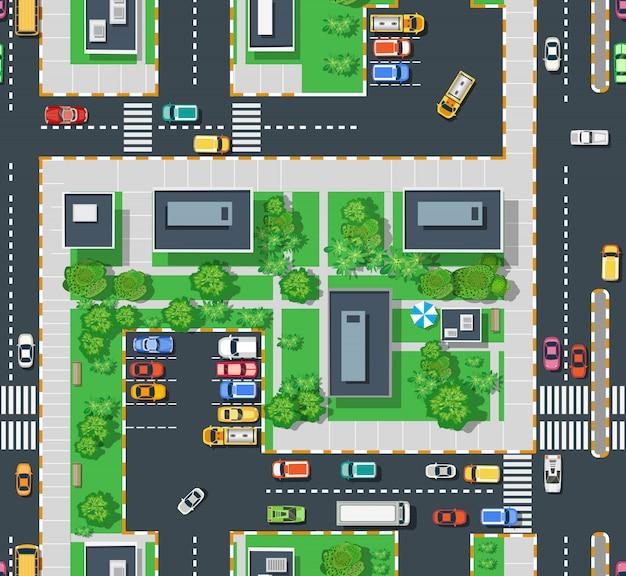 Area urbana vista dall'alto con prati di alberi da costruzione