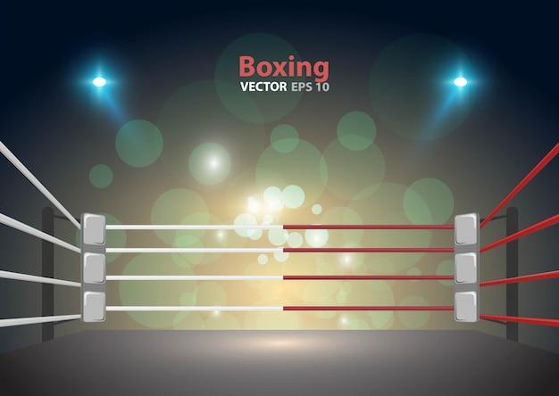 Arena di ring di pugilato e proiettori vector design brillante stadio arena luci rosso blu.