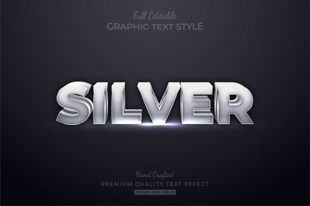 Argento modificabile eps effetto stile testo premium