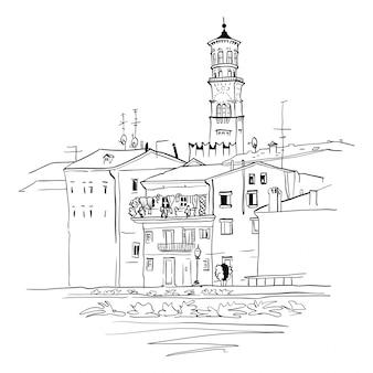 Argine del fiume adige a verona, italia