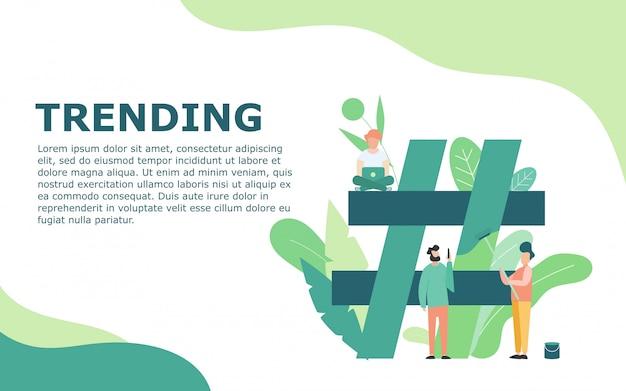 Argomento di tendenza con modello hashtag