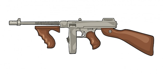 Arma automatica gangster tommy gun. piatto vintage