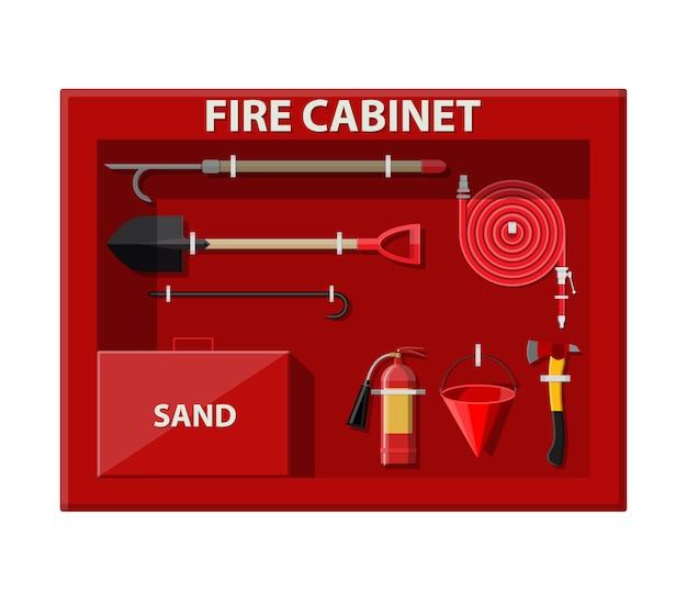 Armadietto del fuoco. set antincendio. attrezzature antincendio.
