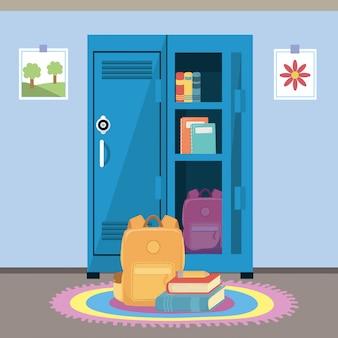 Armadietto della scuola e forniture