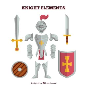 Armatura cavaliere e elementi con design piatto