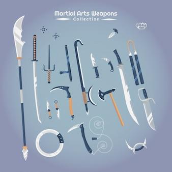 Armi di arti marziali set vettoriale, piatto, classico