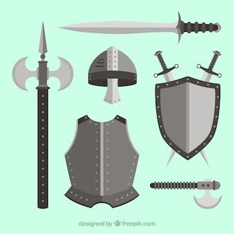 Armi di knigt con disegno piatto