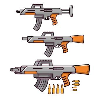 Armi pistole, fucile militare, cartucce di armi da fuoco.