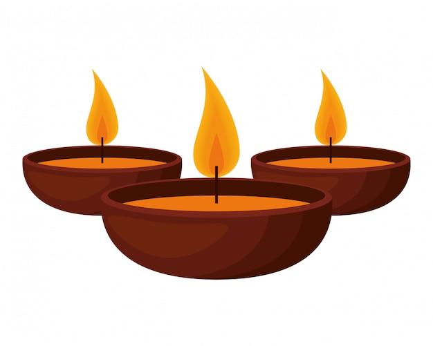 Aromaterapia imposta icone di candele