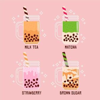 Aromi di tè a bolle disegnati a mano