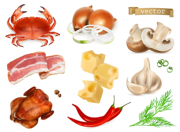 Aromi e condimenti alimentari per snack, additivi naturali, spezie e altri gusti in cucina. granchio, pancetta, pollo, cipolla, formaggio, pepe, funghi, aneto, aglio, set di icone realistiche 3d
