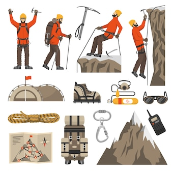 Arrampicata escursionistica icone di alpinismo
