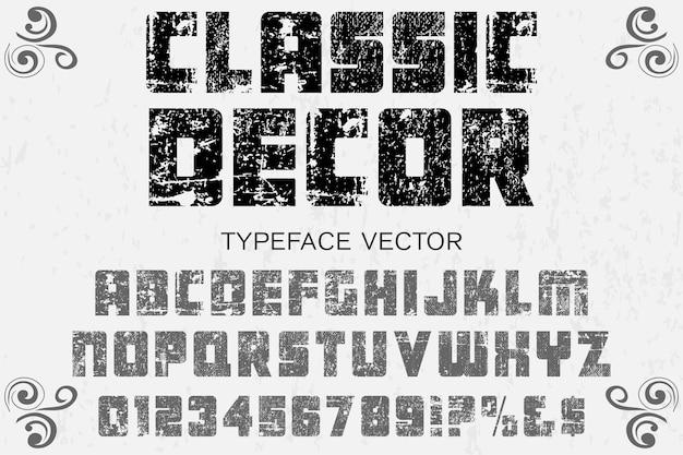 Arredamento classico carattere tipografico retrò alfabeto carattere design