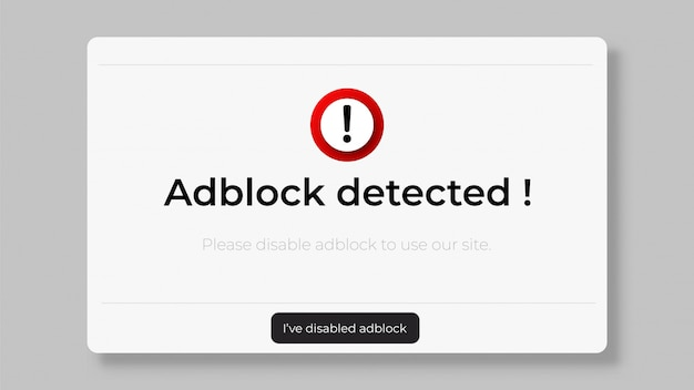 Arresta la finestra del sito web di adblock.