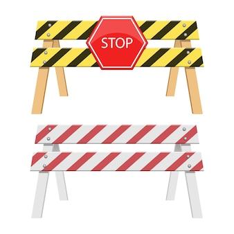 Arresti l'illustrazione della barriera isolata su fondo bianco