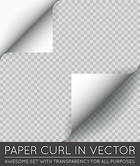 Arricciatura della pagina della carta di vettore con ombra isolata.