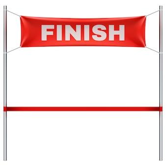 Arrivo con l'illustrazione rossa di vettore della bandiera del tessuto isolata. finisci la gara sportiva, la vittoria e il successo finendo