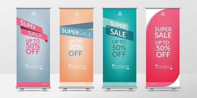 Arrotola il modello di design di banner in vendita super