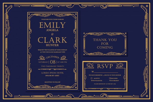 Art deco engagement / wedding invitation navy con colore oro con cornice. classico stile vintage navy premium. includi tag di ringraziamento e rsvp