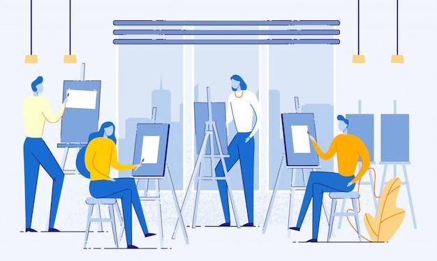 Art studio con persone che dipingono su tela piatta.