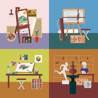 Art studio interiors square concept