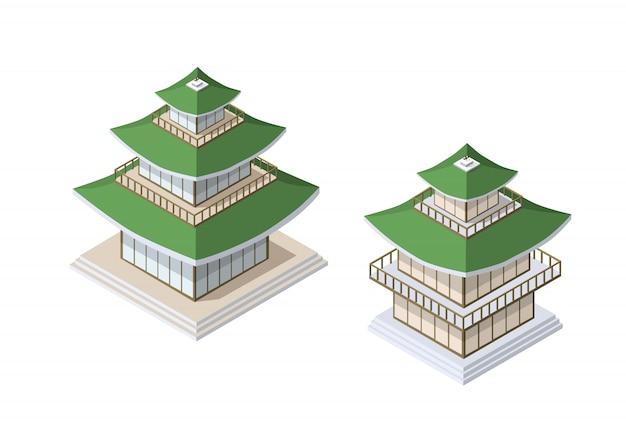 Arte buddista cinese della casa della costruzione della pagoda di
