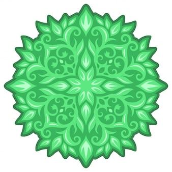Arte con il disegno floreale verde isolato annata