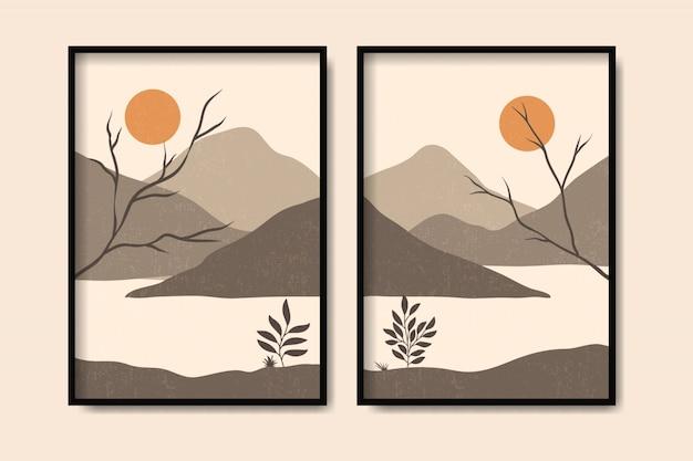 Arte contemporanea del modello di forma della montagna del paesaggio nello stile d'annata