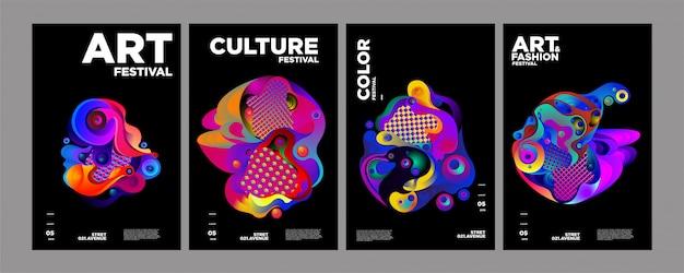 Arte, cultura e moda modello di copertina o poster colorato