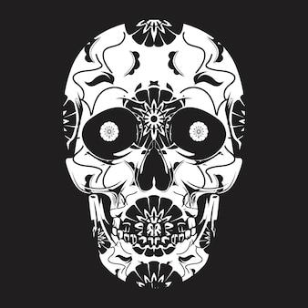 Arte del cranio messicano con ornamento floreale