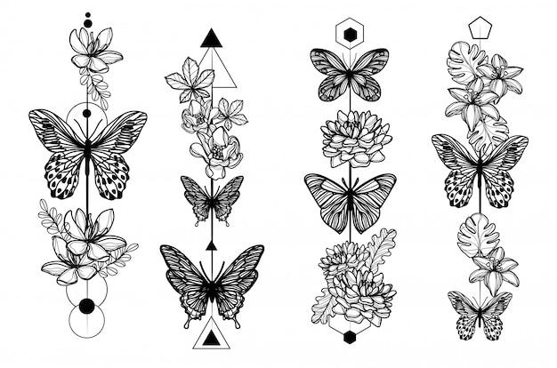 Arte del tatuaggio in bianco e nero farfalla e fiori schizzo