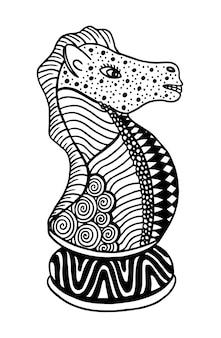 Arte dell'illustrazione di vettore del pezzo degli scacchi di cavaliere