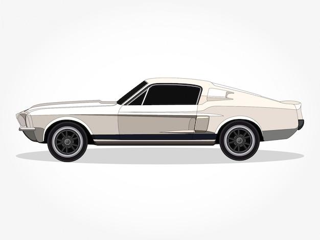 Arte dettagliata dell'illustrazione di vettore del fumetto dell'automobile