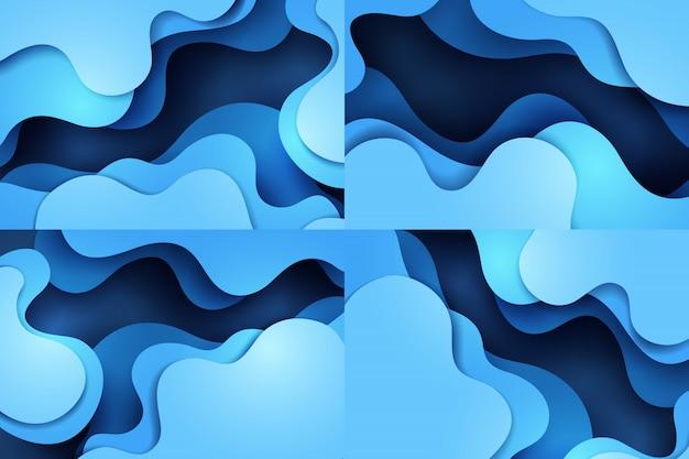 Arte di carta del disegno astratto blu dinamico della priorità bassa