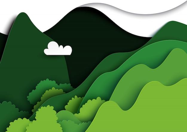 Arte di carta del paesaggio della natura delle montagne verdi.