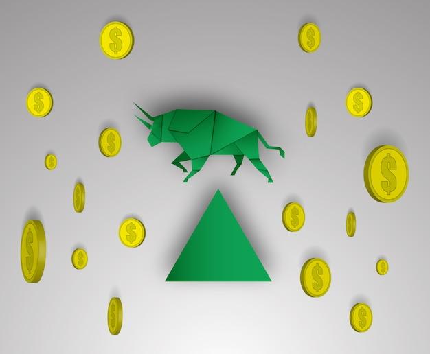 Arte di carta del toro con soldi per il vettore e l'illustrazione del mercato azionario