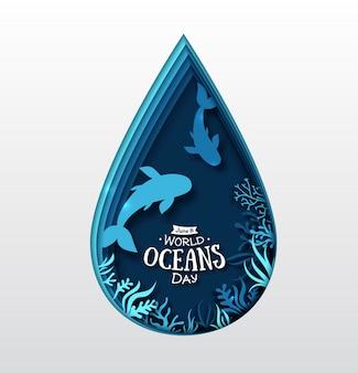 Arte di carta della giornata mondiale degli oceani. goccia d'acqua, pesci e piante marine