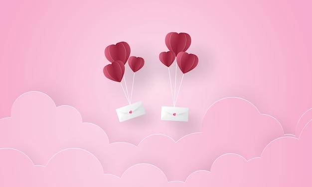 Arte di carta della lettera di amore che galleggia nel cielo, san valentino