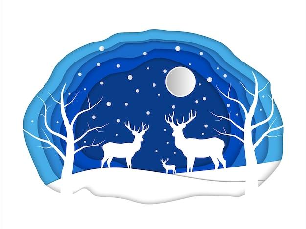 Arte di carta della natura con cervi nella foresta invernale