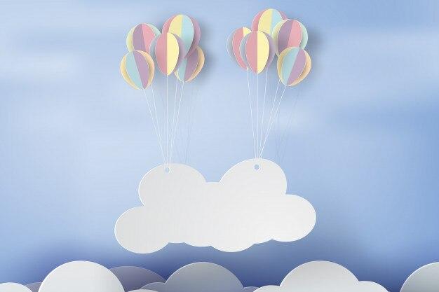 Arte di carta della nuvola di cartello sul cielo con palloncino colorato