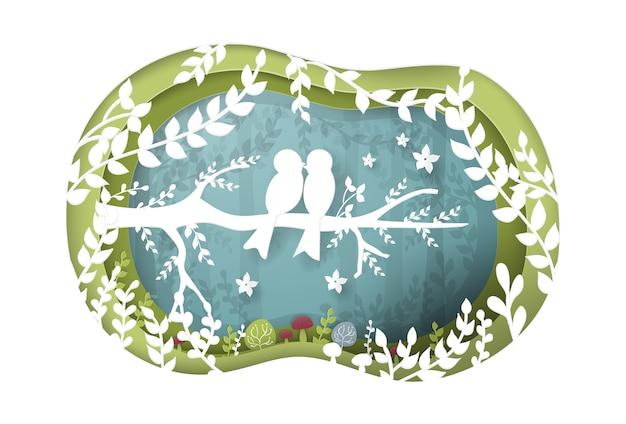 Arte di carta delle coppie di uccelli nella foresta