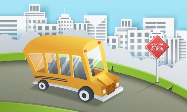 Arte di carta dello scuolabus che funziona sulla strada campestre, di nuovo al concetto della scuola