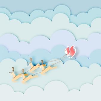 Arte di carta di babbo natale con la renna sul vettore del cielo blu