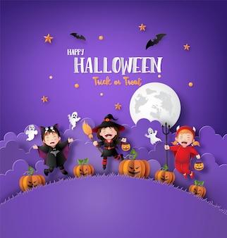 Arte di carta di felice halloween