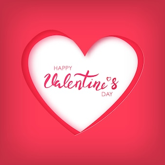 Arte di carta di happy valentines day su cuore rosso.