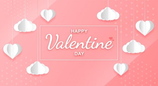 Arte di carta di palloncini a forma di cuore per san valentino