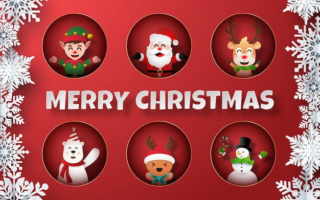 Arte di carta di personaggi natalizi su sfondo rosso