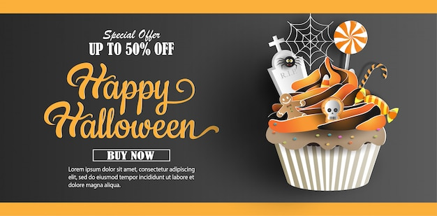 Arte di carta e stile artigianale, cupcake con banner decorazioni dolci